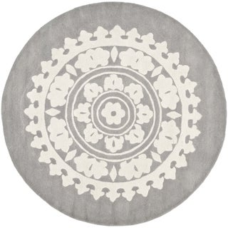 Safavieh Handmade Soho Light Grey/ Ivory Wool Rug (10' Round)