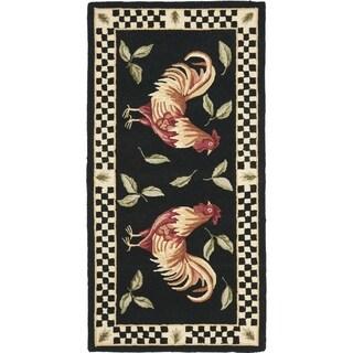 Safavieh Hand-hooked Vintage Poster Black/ Ivory Wool Rug (2'6 x 5')