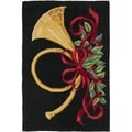 Safavieh Hand-hooked French Horn Holiday Black Wool Rug (2'6 x 4')