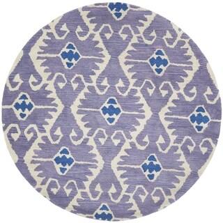 Safavieh Handmade Wyndham Lavender/ Ivory Wool Rug (5' Round)