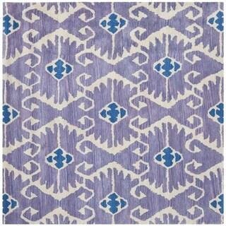 Safavieh Handmade Wyndham Lavender/ Ivory Wool Rug (8'9 Square)