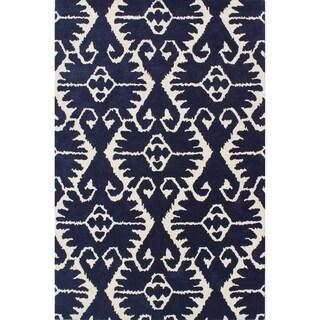 Safavieh Handmade Wyndham Royal Blue/ Ivory Wool Rug (6' x 9')