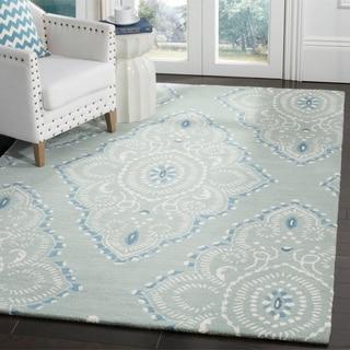Safavieh Handmade Wyndham Blue/ Ivory Wool Rug (6' x 9')