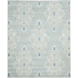 Safavieh Handmade Wyndham Blue/ Ivory Wool Rug (8'9 x 12')