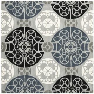 Safavieh Handmade Wyndham Grey/ Black Wool Rug (8'9 Square)