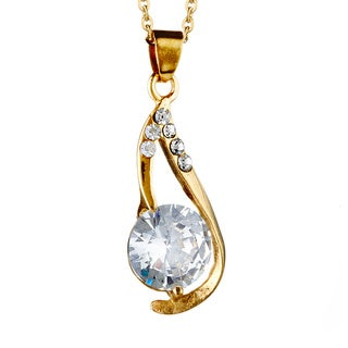 Goldplated Stainless Steel Cubic Zirconia Necklace