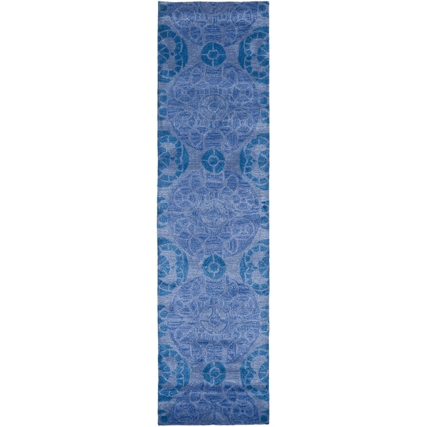 Safavieh Handmade Wyndham Blue Wool Rug (2'3 x 11')