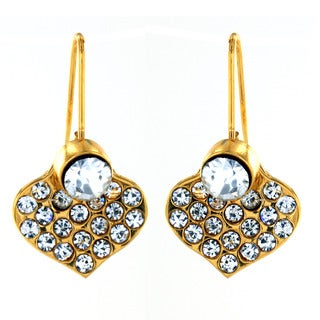 Goldplated Stainless Steel Crystal Heart Earrings