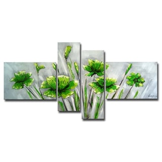 Hand-painted 'Flower 463' 4-piece Gallery-wrapped Canvas Art Set