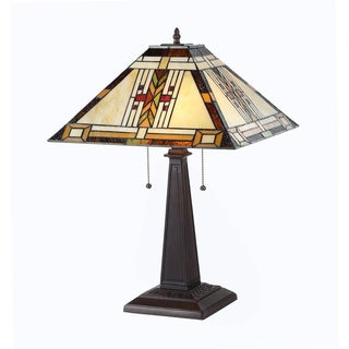 Tiffany Style Mission Design 2-light Tan Table Lamp