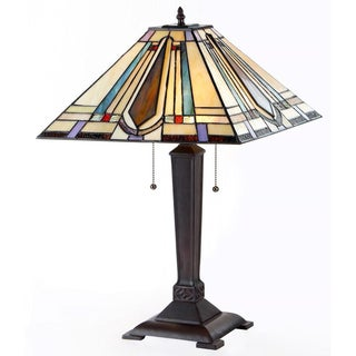 Tiffany Style Mission Design 2-light Beige Table Lamp