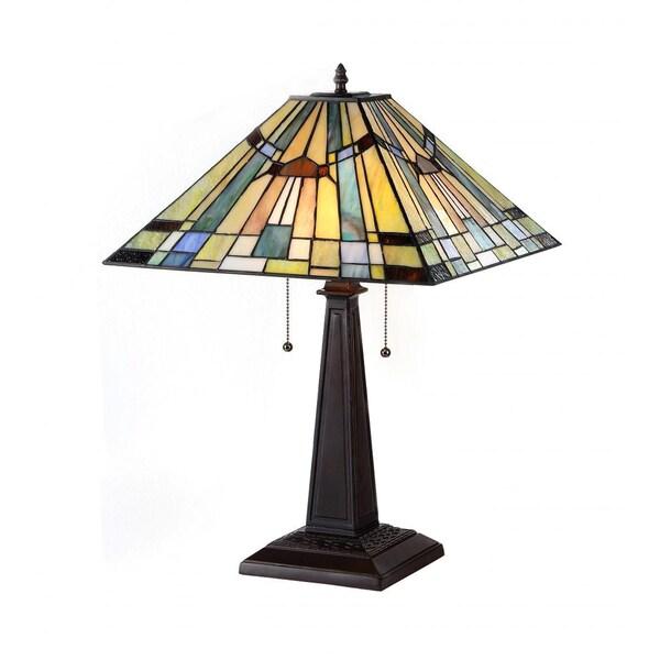 chloe lighting tiffany style mission design 2 light bronze table lamp. Black Bedroom Furniture Sets. Home Design Ideas
