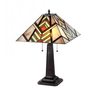 Tiffany Style Mission Design 2-light Chevron Table Lamp