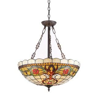 Tiffany-Style Victorian Design 3-light Pendant