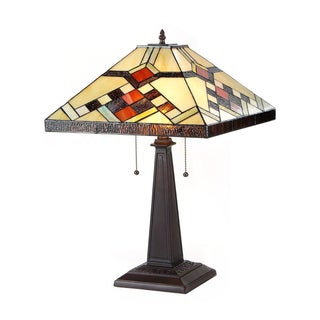 Tiffany Style Mission Design 2-light Canary Table Lamp