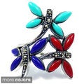 Sterling Silver Inlaid Gemstone Elegant Dragonflies Ring (Thailand)