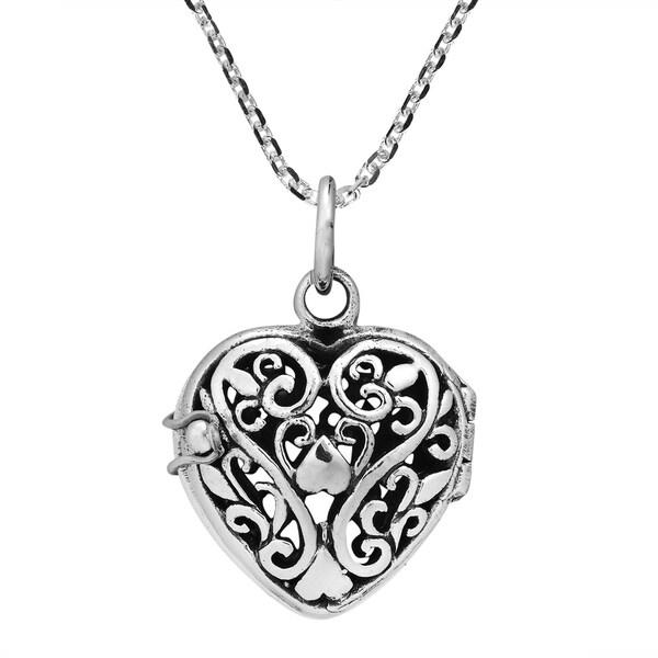 Handmade Romantic Filigree Heart Locket Sterling Silver Necklace (Thailand) 11253453