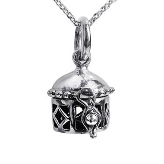 Geometric Prayer Box Locket Sterling Silver Necklace (Thailand)