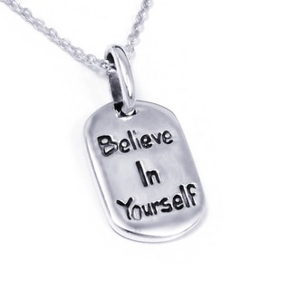 Sterling Silver 'Believe In Yourself' Message Necklace (Thailand)