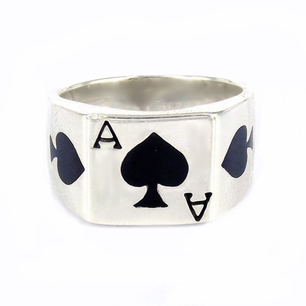 Silver'Ace of Spade Poker Card Enamel Ring (Thailand)