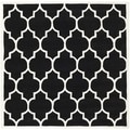 Handmade Moroccan Black Wool Rug with Cotton Canvas Backing (7' Square)