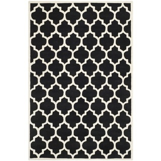 Safavieh Handmade Moroccan Tufted Black Wool Rug (6' x 9')