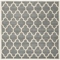 Handmade Moroccan Dark Grey Geometric Pattern Wool Rug (8'9 Square)