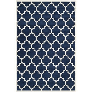 Safavieh Handmade Moroccan Chatham Dark Blue Wool Rug with .5-inch Pile (8' x 10')