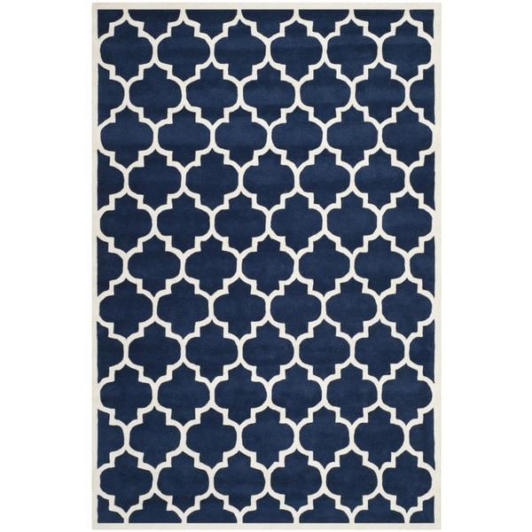 Safavieh Handmade Moroccan Chatham Dark Blue Wool Rug with .5-inch Pile (8' x 10')