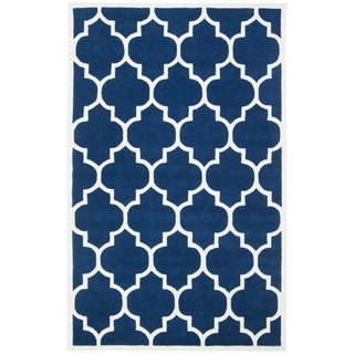 Safavieh Handmade Moroccan Dark Blue Wool Rug with Thick Pile (4' x 6')