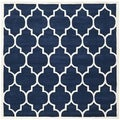 Handmade Moroccan Dark Blue Pure Wool Rug (7' Square)