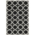Handmade Moroccan Black Cross Pattern Wool Rug (4' x 6')