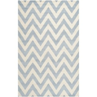 Safavieh Handmade Moroccan Cambridge Chevron Light Blue Wool Rug (8' x 10')