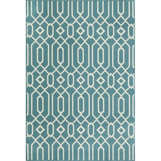 Indoor/ Outdoor Blue Links Rug (7'10 x 10'10)