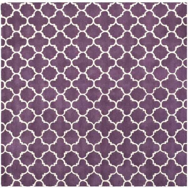 Safavieh Handmade Moroccan Chatham Purple/ Ivory Wool Rug (8'9 Square)