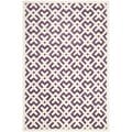Handmade Moroccan White-and-Purple Wool Rug (8' x 10')