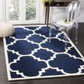 "Handmade Moroccan Dark Blue Wool Rug with 0.5"" Pile Height (7' Square)"