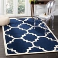 Safavieh Handmade Moroccan Chatham Canvas-backed Dark Blue Wool Rug (8' x 10')
