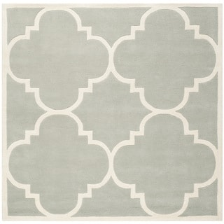 "Handmade Moroccan Dense Gray Wool Rug (8'9"" Square)"