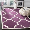 Handmade Moroccan Purple Wool Rug with Cotton Canvas Backing (7' Square)