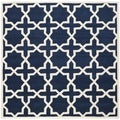 Handmade Moroccan Dark Blue Wool Indoor Rug (7' Square)