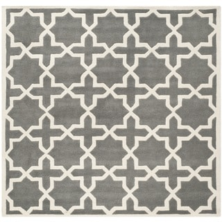 Safavieh Handmade Moroccan Plush Dark Grey Wool Rug (7' Square)