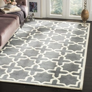 Handmade Moroccan Dark Grey Cross Pattern Wool Rug (8'9 Square)