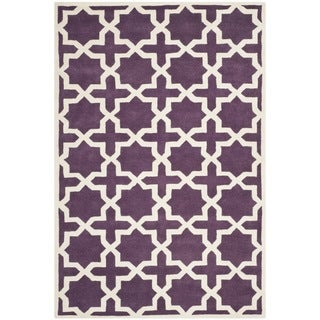 Safavieh Handmade Moroccan Purple Wool Rug with Durable Backing (4' x 6')