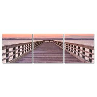 Baxton Studio Pier Sunset Mounted Photography Print Triptych