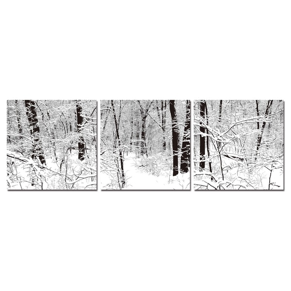 Baxton Studio Winter Woods Mounted Photography Print Triptych