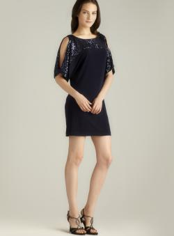 Split Sleeve Shoulder Sequined Dress