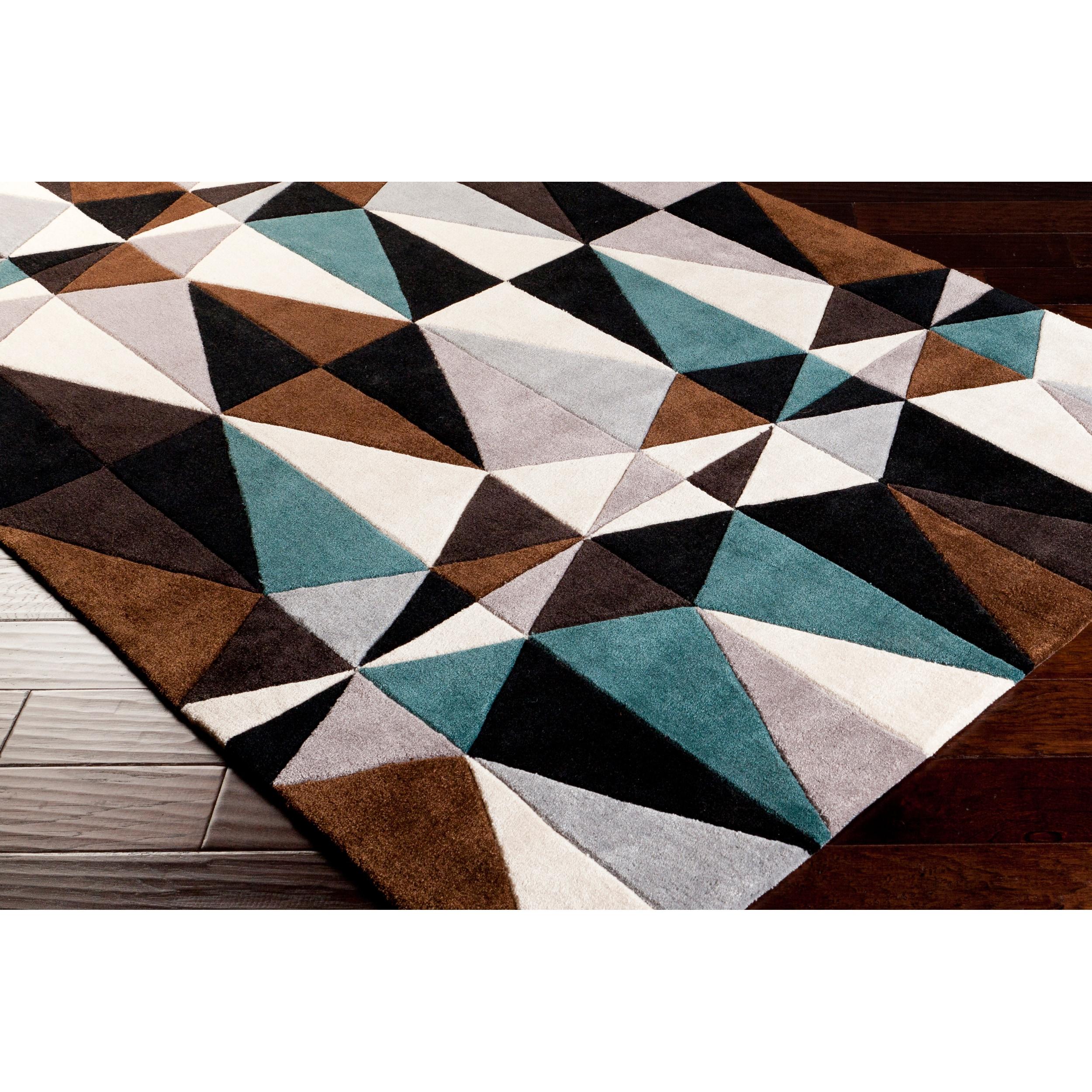 Hand-tufted Kaleidoscope Teal Contemporary Geometric Rug