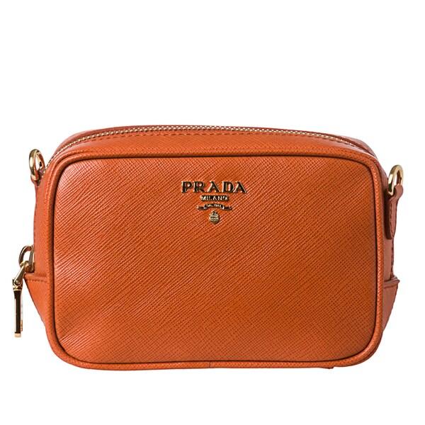 Prada Mini Saffiano Zip Crossbody Bag - 15436223 - Overstock.com ...