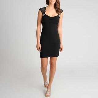 Women's Black Lace Shoulder Dress
